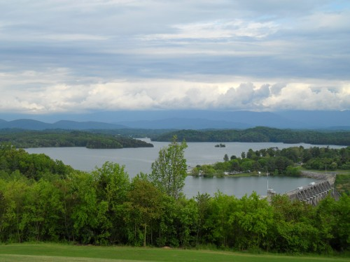 View of the dam, lake, and mountains from the overlook on the dam at Douglas Lake
