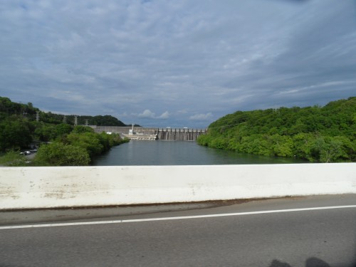 View of the dam from the bridge over the tailwater.