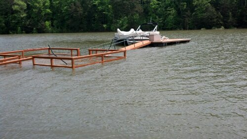floating dock attached to deck.