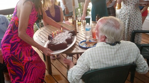 cake being set on table