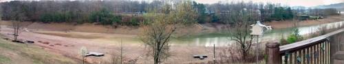 panoramic view of the lake channel behind our house.